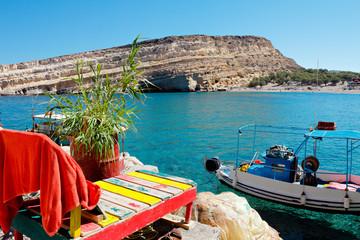 Matala Beach au sud de la Crète