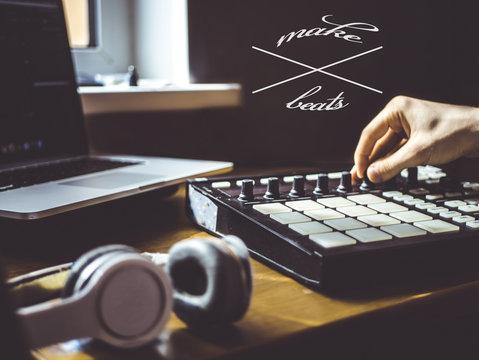 making beats text copyspace music design