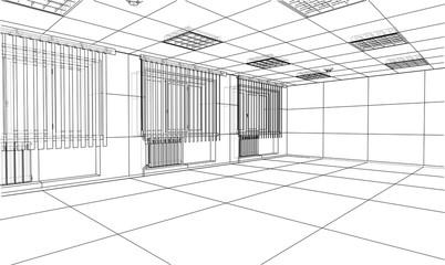 Interior sketch. 3d illustration