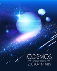 Space Shining Backgrouns with Realistic 3D Planets and Stars. Univerce and Cosmos Design. Light of a Galaxy. Science Template.