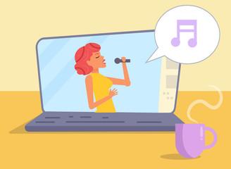 Online vocal lesson Vector.