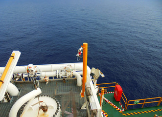 Station of flame detector UV and IR type installed at hazard area of oil and gas offshore platform for safety.