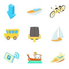 Movement icons set, cartoon style