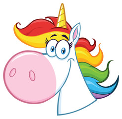 Smiling Magic Unicorn Head Cartoon Mascot Character. Illustration Isolated On White  Background