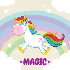 Smiling Magic Unicorn Cartoon Mascot Character Running Around Rainbow With Clouds. Illustration With  Background And Text Magic