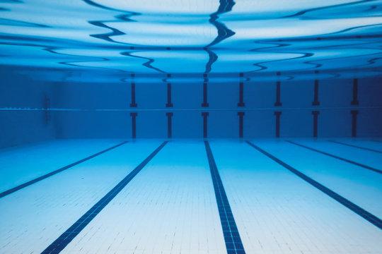 Underwater Empty Swimming Pool.