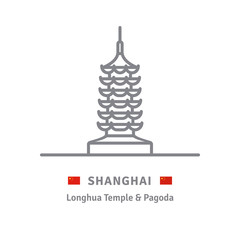Line icon of Longhua Temple and Pagoda, Shanghai