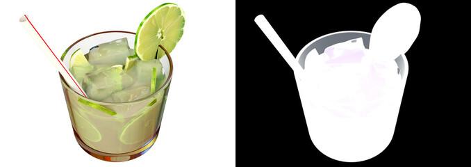 A 3d illustration of Brazilian caipirinha drink