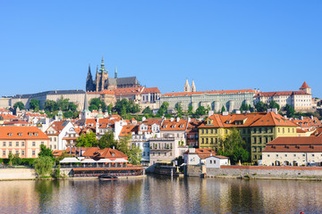 Prague, Bohemia, Czech Republic. Hradcany is the Praha Castle with churches, chapels, halls and towers from every period of its history.