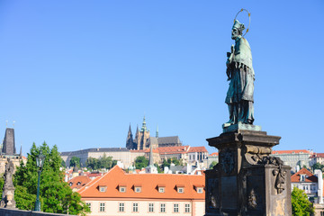 Statue of John of Nepomuk on the Charles bridge in Prague.