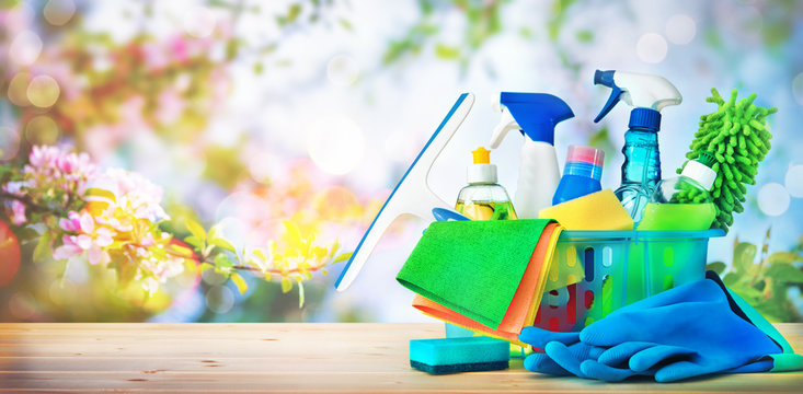 Cleaning concept. Housecleaning, hygiene, spring, chores, cleaning supplies