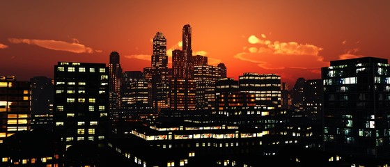 Wall Mural - modern city at sunset, night cityscape, 3D rendering