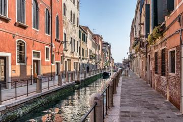 Colorful canal in the Dorsoduro region of Venice