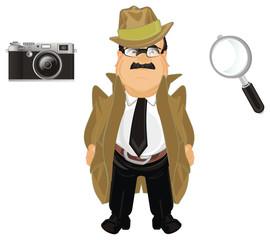 detective, investigator, spy, man, police, criminal, investigation, illustration, cartoon,