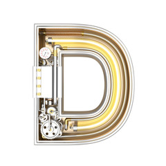 Mechanic alphabet ,letter D on white background with clipping path. 3D illustration