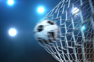 3d rendering soccer ball in goal in motion. Soccer ball in net in motion with spotlight or stadium light background, Success concept