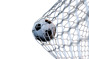 3d rendering soccer ball in goal in motion. Soccer ball in net in motion isolated on white background. Success concept