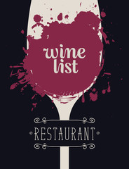 Vector Wine list with calligraphic inscription and a silhouette of a glass of wine with spots and splashes