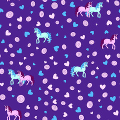 Seamless pattern with unicorns. Unicorns, hearts and swirls blue and pink on purple background. Vector illustration.