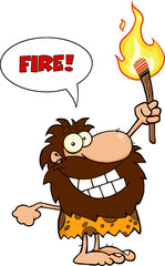 Smiling Caveman Cartoon Character Holding Up A Torch. Illustration Isolated On White Background And Speech Bubble With Text