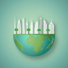 Modern buildings cityscape on hemisphere green world as business, nature, eco and love earth day concept. vector illustration of paper art and craft style.