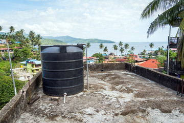 Water tank on the roof in Asia