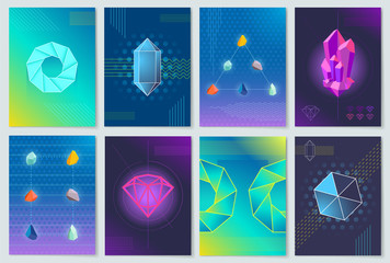 Minerals and Stones Collection Vector Illustration
