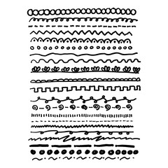 lines dividers set vector illustration sketch hand drawn with black lines isolated on white background