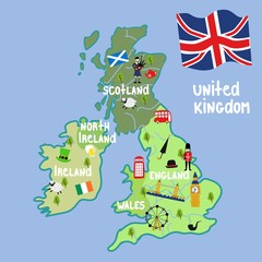 vector cartoon United Kingdom map with national symbols. Marching beefeater, british phone booth, Tower Bridge and Big Ban Tower of London, union jack, Scotland, Ireland flags, bagpiper, clover icon.