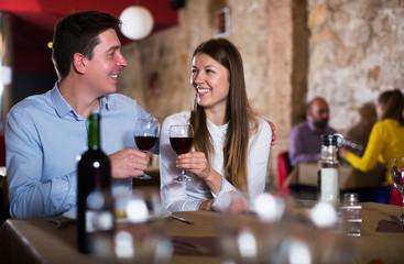 Romantic couple dinning at restaurant