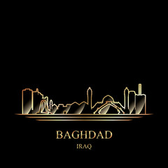 Gold silhouette of Baghdad on black background