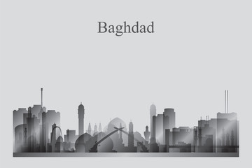 Baghdad city skyline silhouette in grayscale