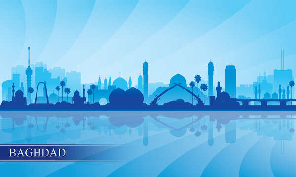 Baghdad city skyline silhouette background