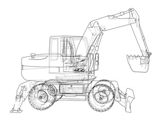 Outline of excavator isolated on background
