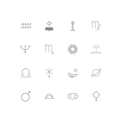 Astrology simple linear icons set. Outlined vector icons