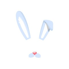 Face of rabbit or hare. cute animal-rabbit face for carnival mask. Decoration element for mobile applications, selfi photo. Vector cartoon illustration isolated on white background.
