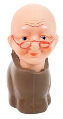 Chocolate bunny body with grandma doll head. Isolated. Fun Humor. Abstract.