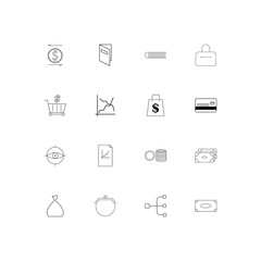 Banking, Finance And Money simple linear icons set. Outlined vector icons