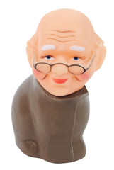 Chocolate bunny body with grandpa doll head. Isolated. Fun Humor. Abstract.