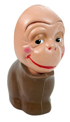 Chocolate bunny body with monkey doll head. Isolated. Fun Humor. Abstract.