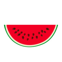 Slice of Watermelon Isolated on White Background, Juicy Fresh Slice of Half Watermelon, Summer Time, Vector Illustration