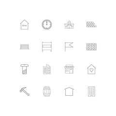 Buildings And Constructions simple linear icons set. Outlined vector icons