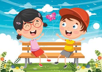 Vector Illustration Of Kids Sitting On Park Bench