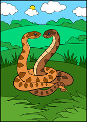 Cartoon animals. Two cute vipers smile.