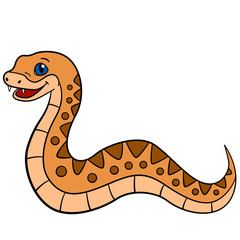 Cartoon animals. Little cute baby viper.