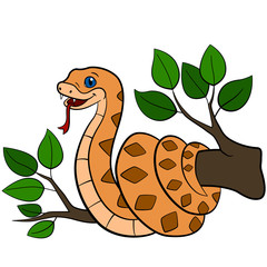 Cartoon animals. Little cute baby viper smiles.