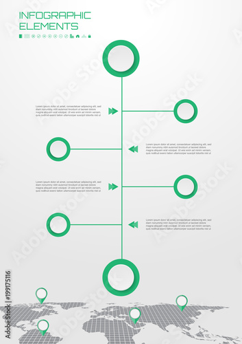 workflow diagram for business organization or web design with map