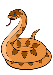 Cartoon animals. Cute viper stands on the stone.