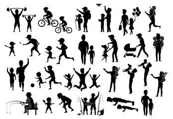 collection of father and kids children silhouette. man boy girl dance jump exercise ride bike walk run push ups jogging hike and camp, fishing, play baseball american football soccer, take selfie