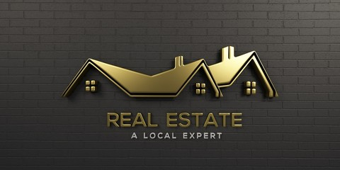 Real Estate Gold Logo Design. 3D Rendering Illustration